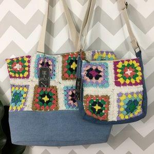 Granny square crochet knit (pair) tote/crossbody